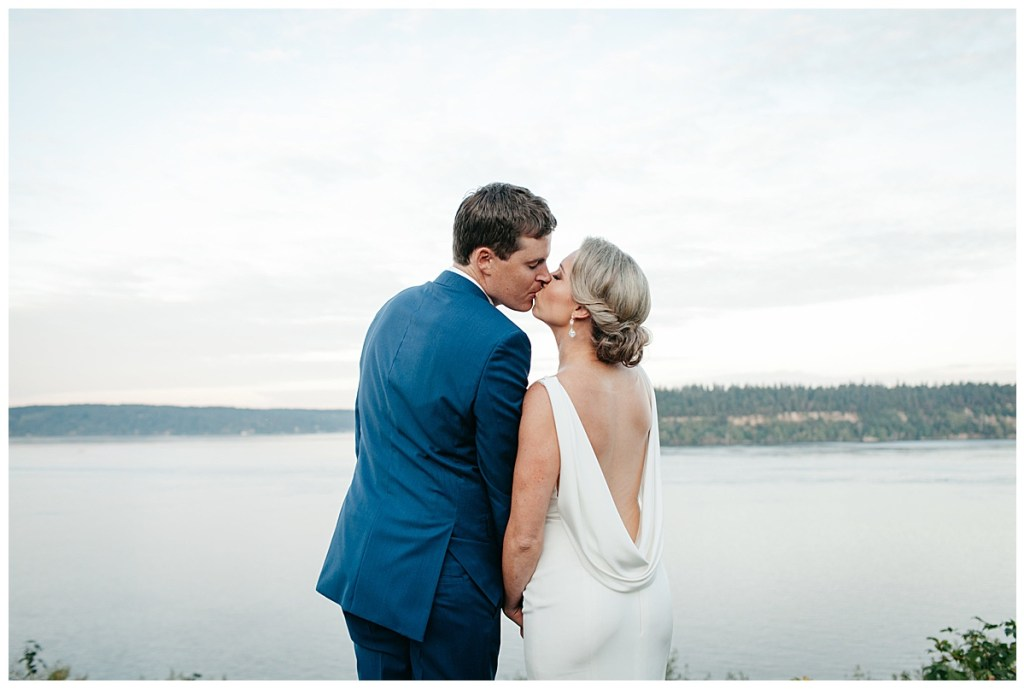Backless white wedding dress classic bridal updo Puget Sound, WA.