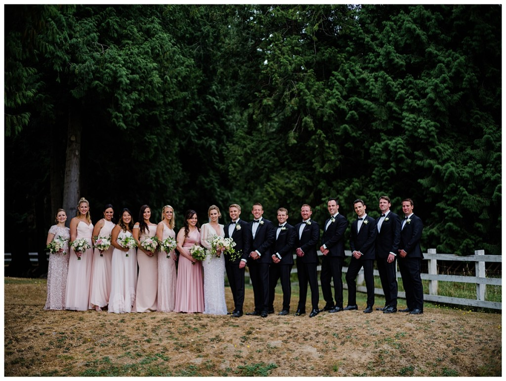 Blush bridesmaids dresses in different styles for wedding party photos. Click for more PNW design from this Chateau Lill wedding in Woodinville, WA. Wedding planning by Perfectly Posh Events, based in Seattle. Wedding photography by Shane Macomber Photography. Wedding Flowers by Flora Nova Design. Wedding Dress by Inbal Dror #perfectlyposhevents