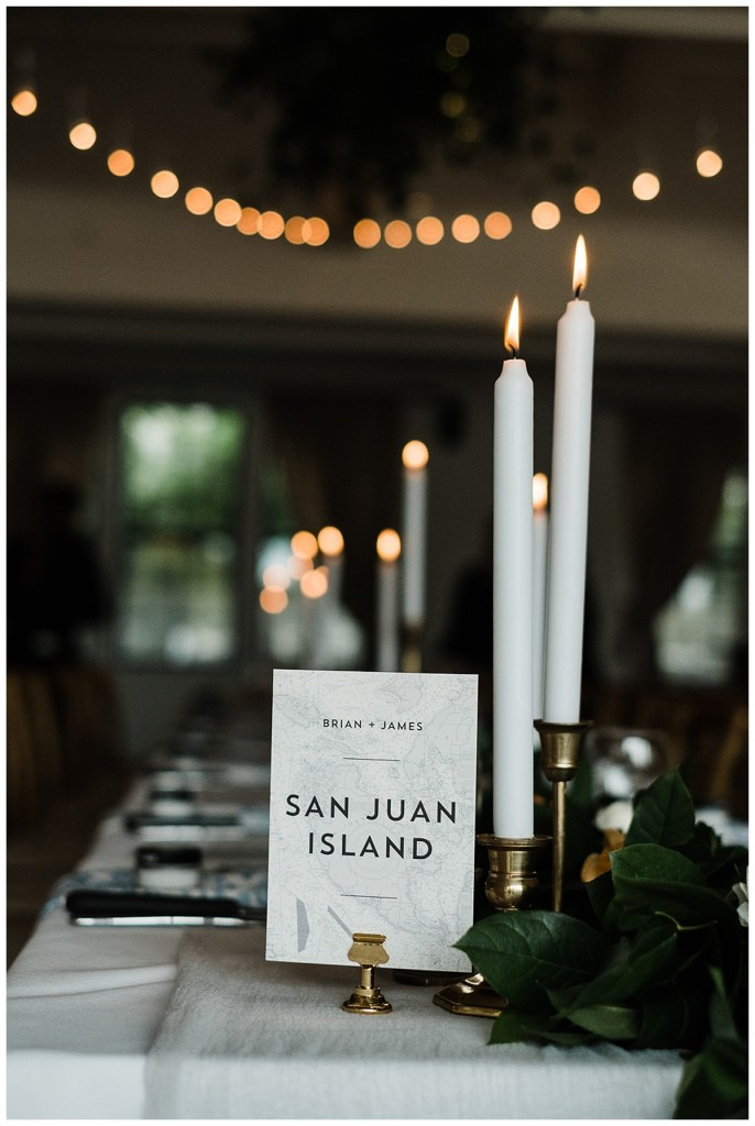 Unique wedding reception table numbers for PNW destination wedding in WA.