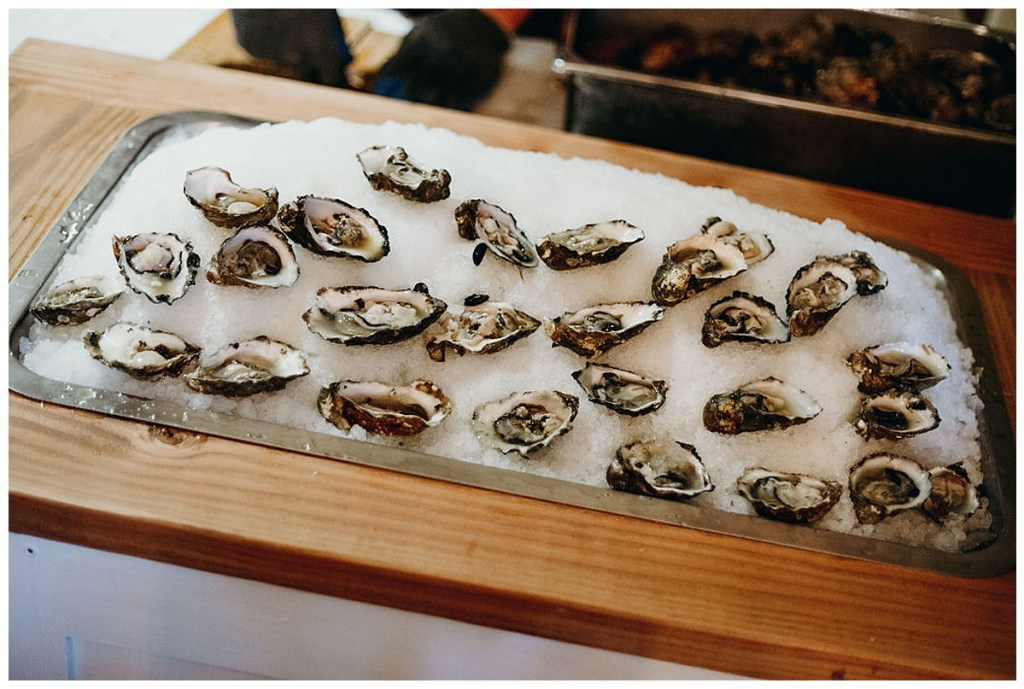 Oyster bar at wedding reception in Hood Canal, WA.