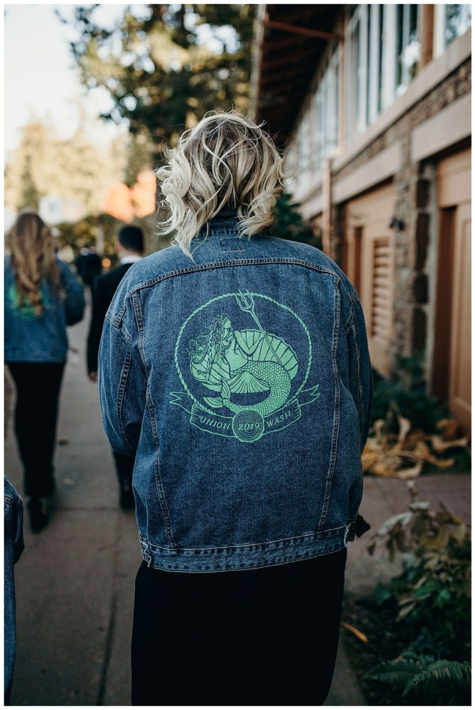 Unique bridesmaid jean jacket for wedding north of Seattle at Alderbrook Resort & Spa in the PNW.