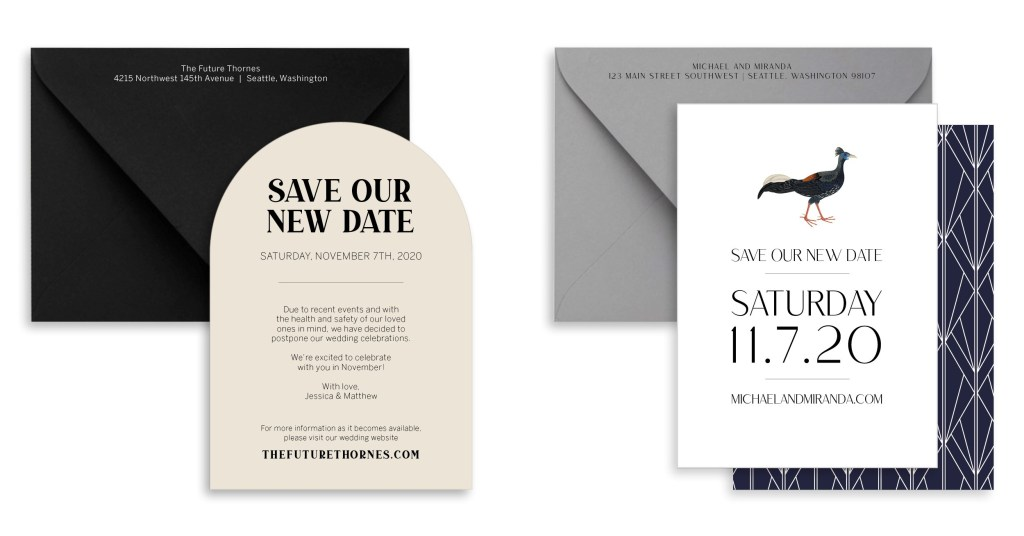 COVID-19 Wedding Postponement Cards by Sablewood Paper Co | How to communicate with your guests about your new wedding date