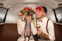 Seattle's Top Wedding Vendors | Bride and groom with dog in photo booth | Shutter Bus Co. | Seattle's Best New Wedding Vendor | Shutter Bus Co. Photography