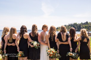 Seattle Tennis Club wedding in Seattle |Seattle bride with bridesmaids in black assorted dresses | Perfectly Posh Events, Seattle Wedding Planner | JTobiason Photography | Sublime Stems