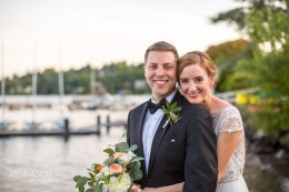 Seattle Tennis Club wedding in Seattle | Bride & Groom posing by dock on Lake Washington | Perfectly Posh Events, Seattle Wedding Planner | JTobiason Photography