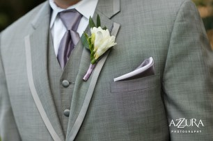Laurel Creek Manor Wedding in Seattle   Groom's grey suit with purple accessories and white boutonniere   Perfectly Posh Events, Seattle Wedding Planner   Azzura Photography   Sublime Stems