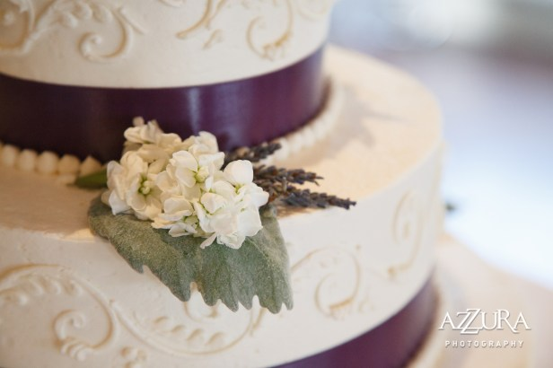 Laurel Creek Manor Wedding in Seattle  Elegant three-tier wedding cake with purple ribbon and hydrangea and succulent florals   Perfectly Posh Events, Seattle Wedding Planner   Azzura Photography   Sublime Stems