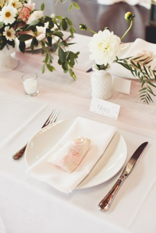 Wedding reception place setting with DIY centerpieces   Golden Gardens Bathouse Wedding   Perfectly Posh Events, Seattle Wedding Planner   Andria Linquist Photography   Holly + Dustin Wedding // © Andria Lindquist 2014