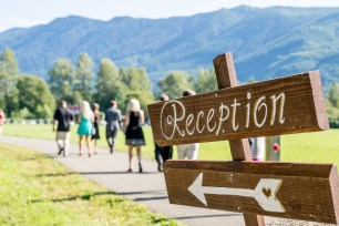 PNW Wedding wooden reception sign| Meadowbrook Farm Wedding, Snoqualmie, WA | Perfectly Posh Events, Seattle Wedding Planner | Sasha Reiko Photography | Jesse + Wes Wedding // © Sasha Reiko Photography