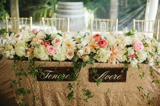 Gold, Pink and White wedding at DeLille Cellars, headtable flowers by Flora Nova, Wedding Planning and Design by Huoy with Perfectly Posh Events