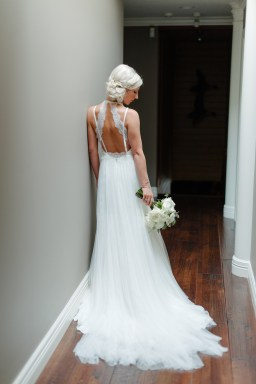 Open back wedding gown with lace and chiffon, white bridal bouquet, wedding fashion, Allison Dan Woodinville Wedding by Perfectly Posh Events, Photo by Blue Rose Photography