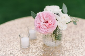 Gold sequin linen and pink flowers at wedding in woodinville, seattle wedding planner Allison Dan Woodinville Wedding by Perfectly Posh Events, Photo by Blue Rose Photography