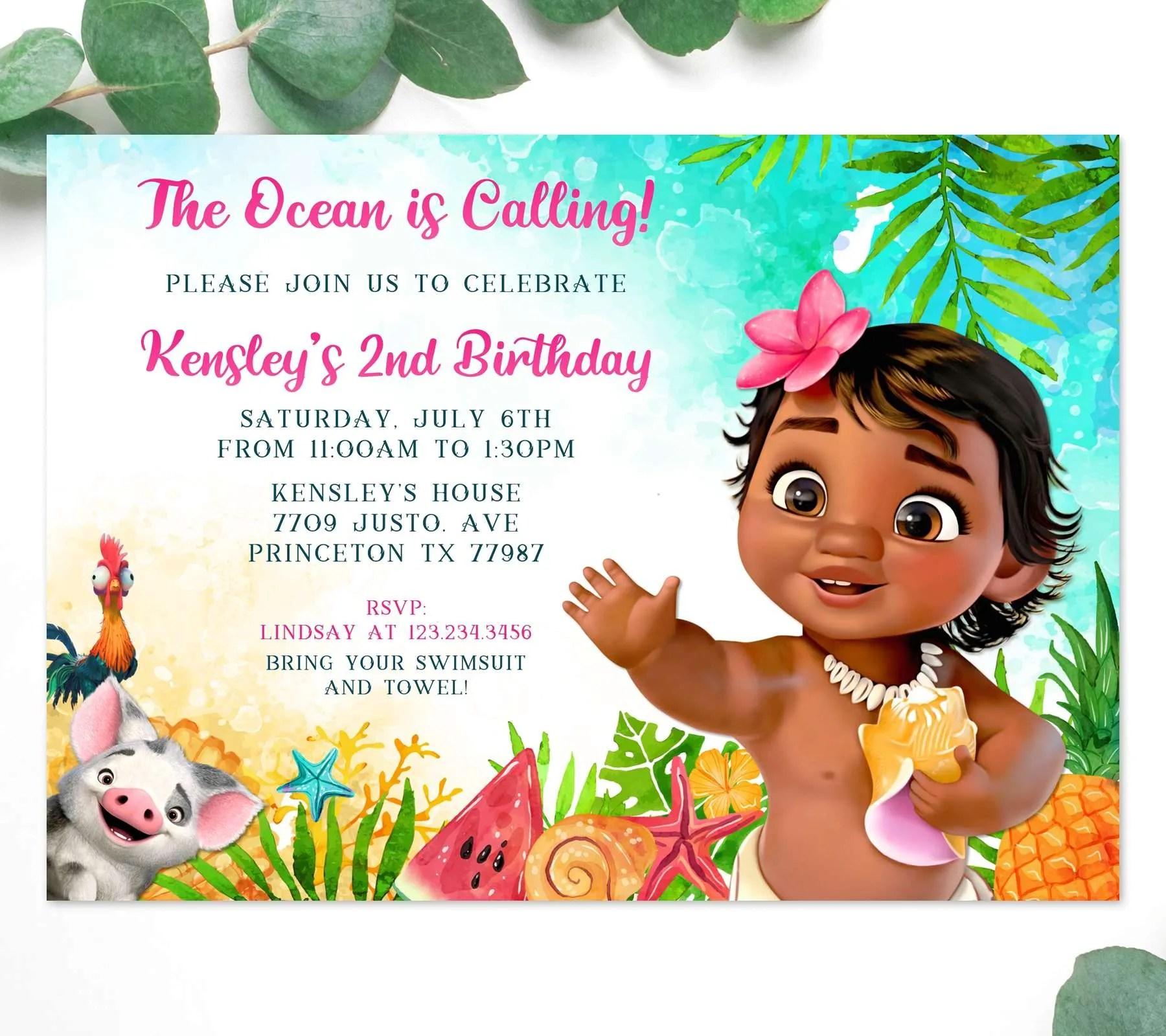 https perfectpartyprints com product baby moana 1st birthday invitation