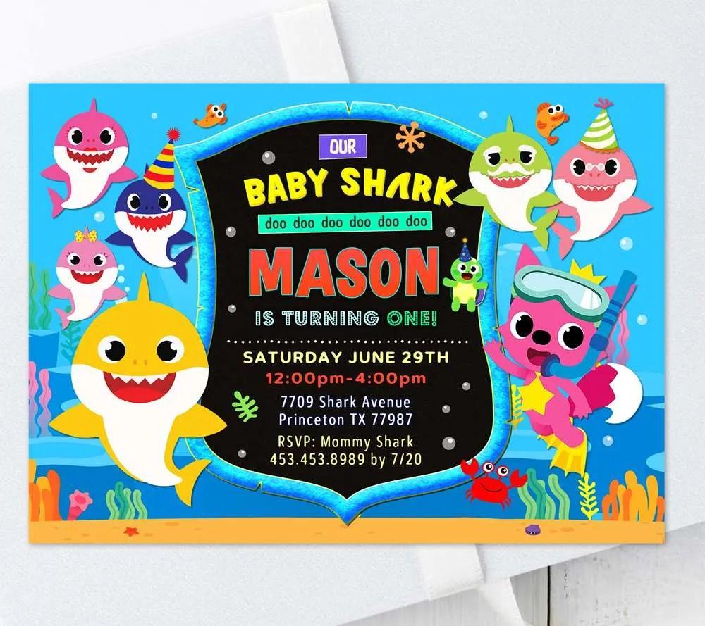 Baby Shark Birthday Invitation Edit Online Immediately