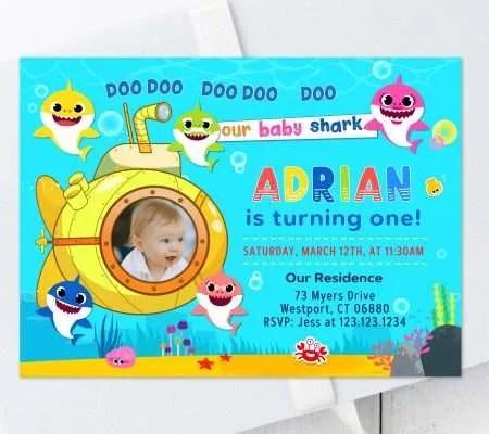 baby shark birthday invitations edit