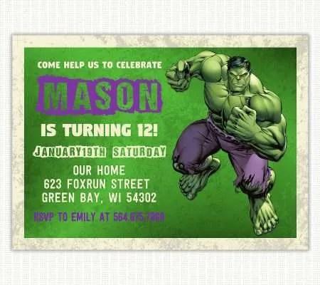 avengers theme birthday invitation