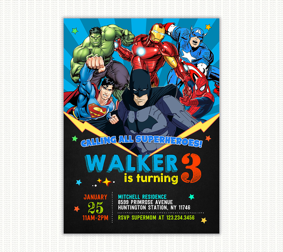 batman and superheroes birthday invitation