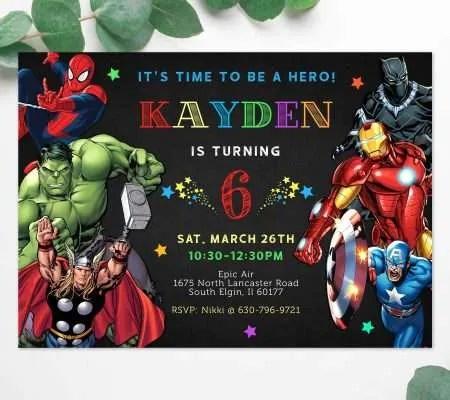 superhero birthday invitation editable