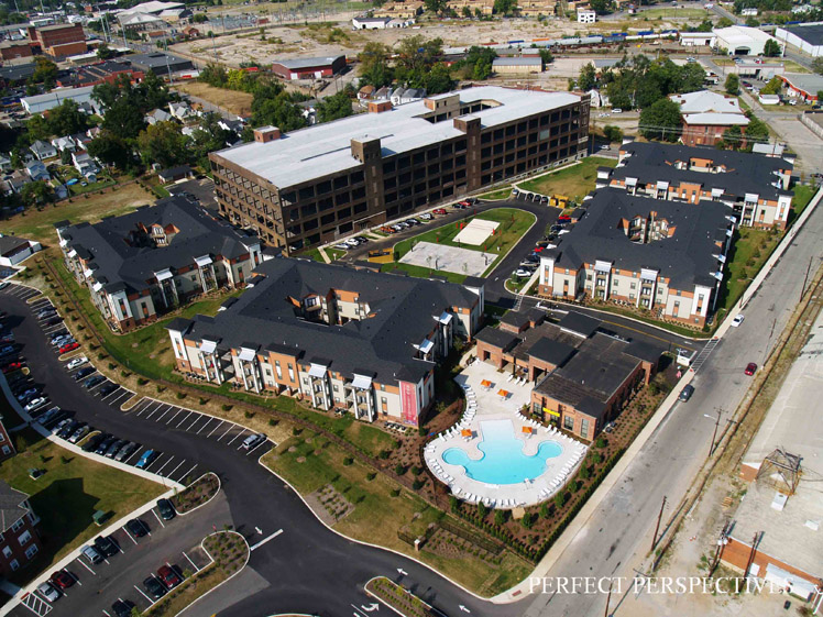 Construction Progress Photography U of L Student Housing at completion