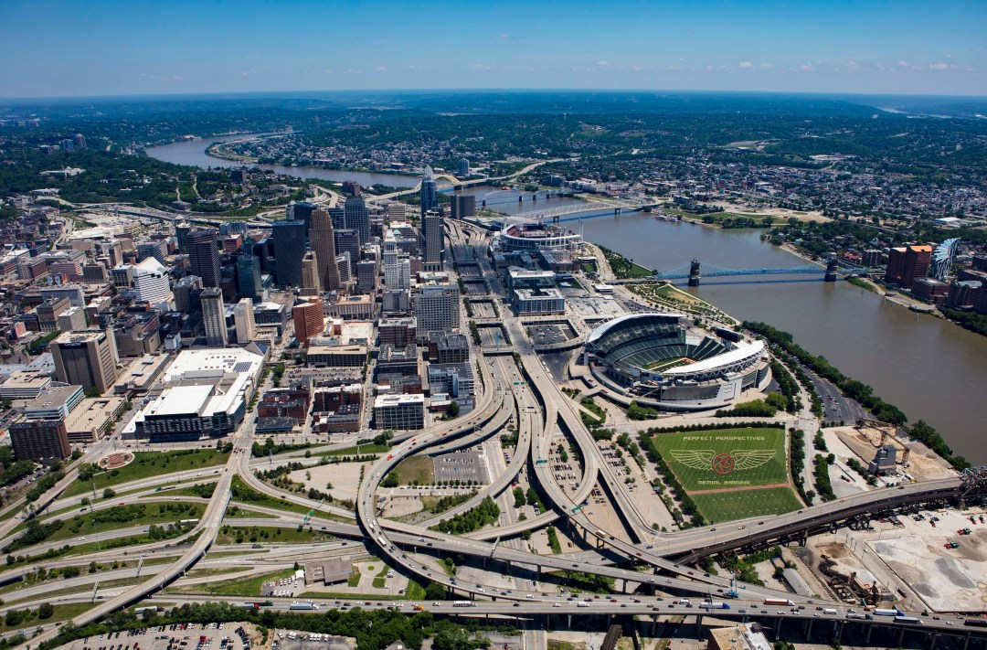 Cincinnati Aerial Photo of downtown skyline from helicopter