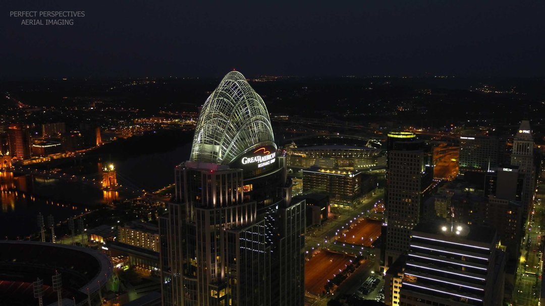 Cincinnati Night Drone Photo of Great American Tower and Ohio River