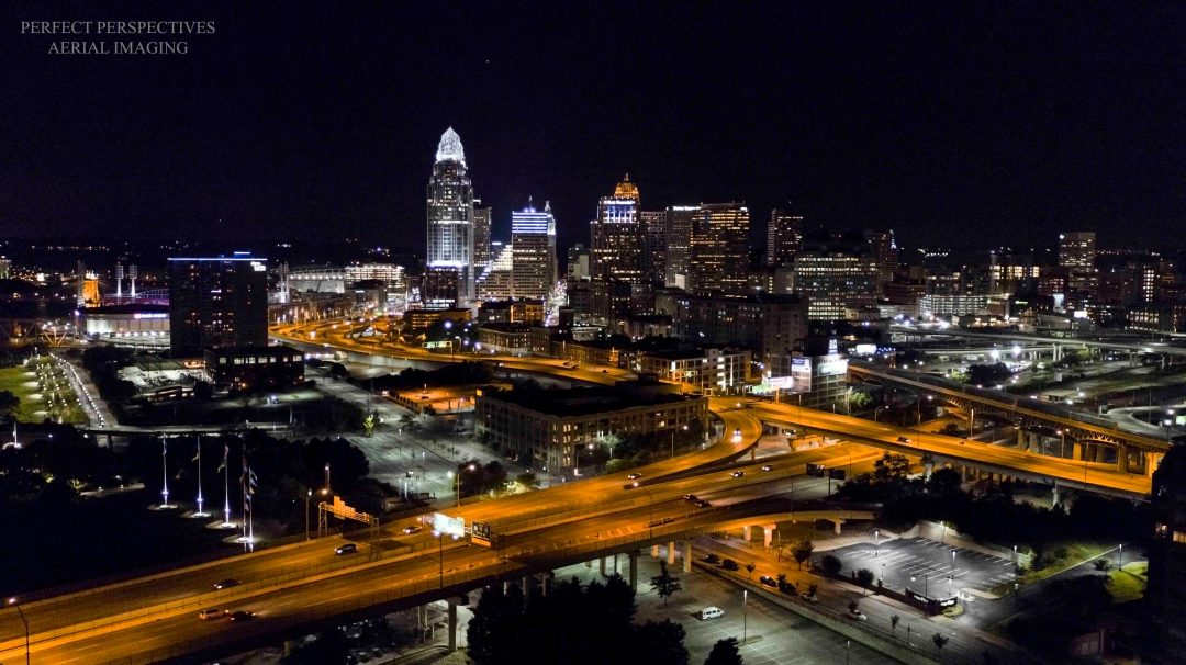 Cincinnati Drone Photo Downtown at Night