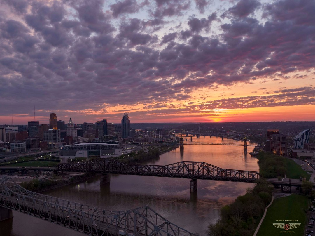 Beautiful Morning Cincinnati Drone Photo of Ohio River at Sunrise