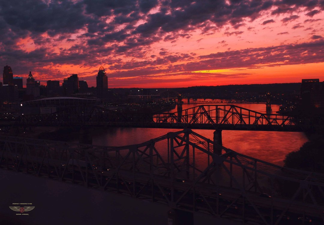 Gorgeous Aerial Drone Photography of sunrise in Cincinnati Ohio