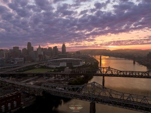 Cincinnati Sunset Aerial Photography