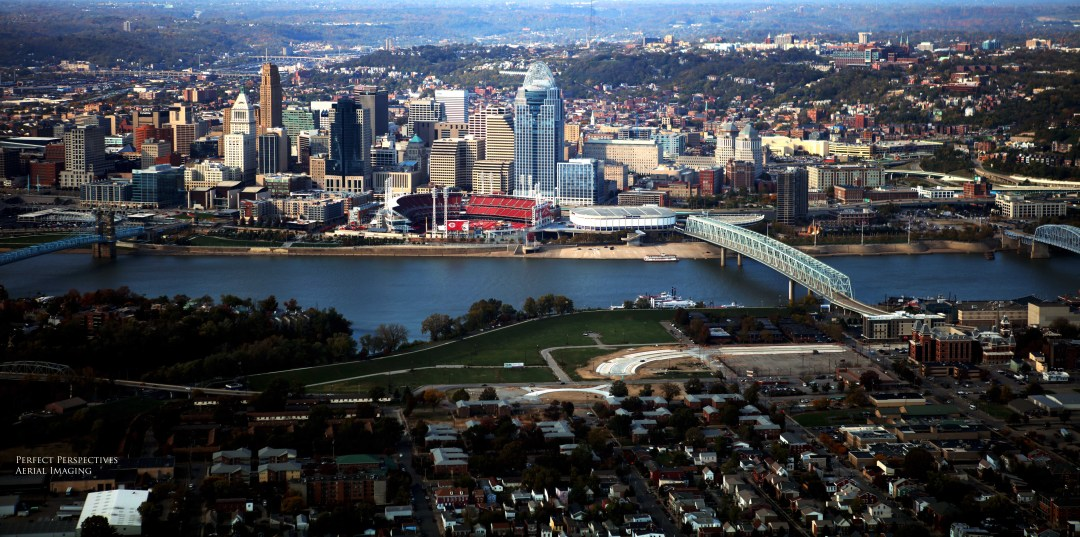 Cincinnati Drone Photo Downtown View From Covington/Newport Kentucky