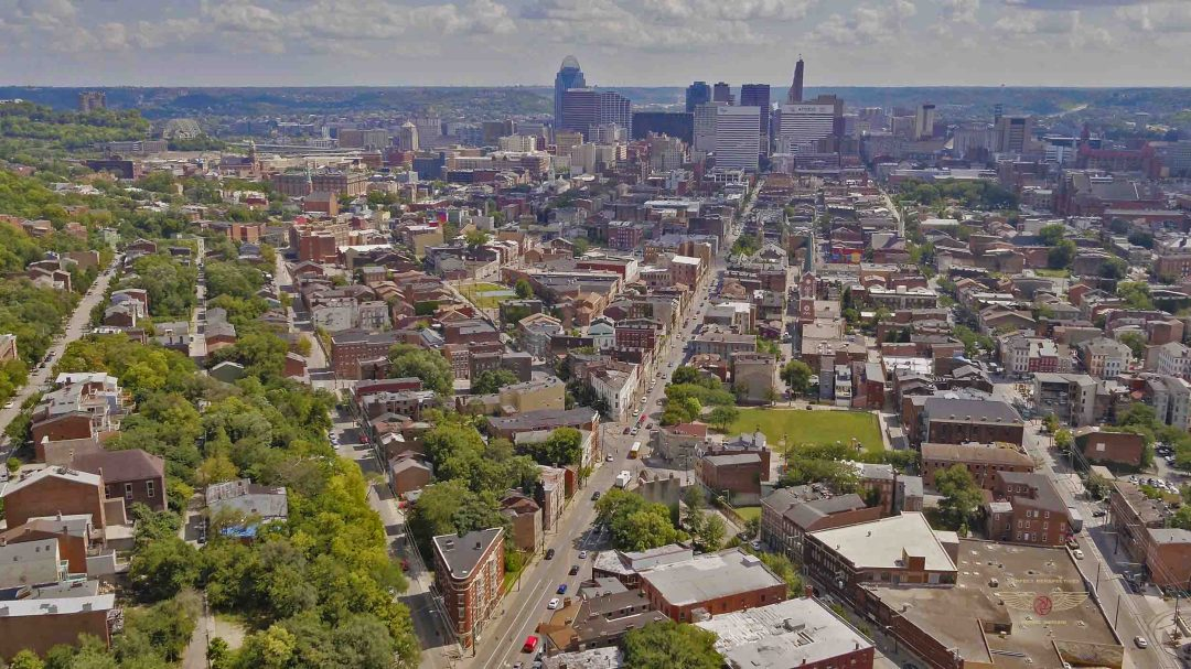 Cincinnati Aerial Drone Photography of Over The Rhine District for Hollywood film