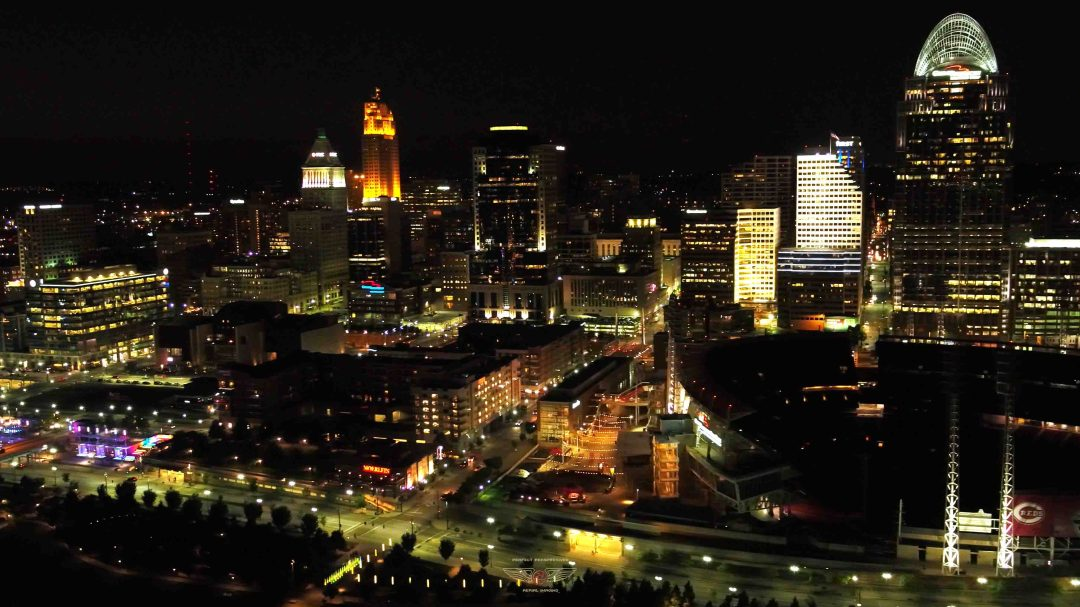 Cincinnati Drone Photo at night - Smale Park and downtown