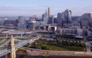 Cincinnati Aerial Photography- Smale Park at The Banks