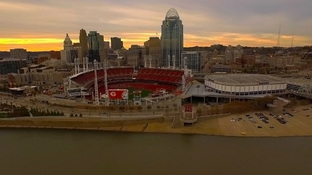 Cincinnati Aerial Photography of Reds Great American Ballpark at sunset