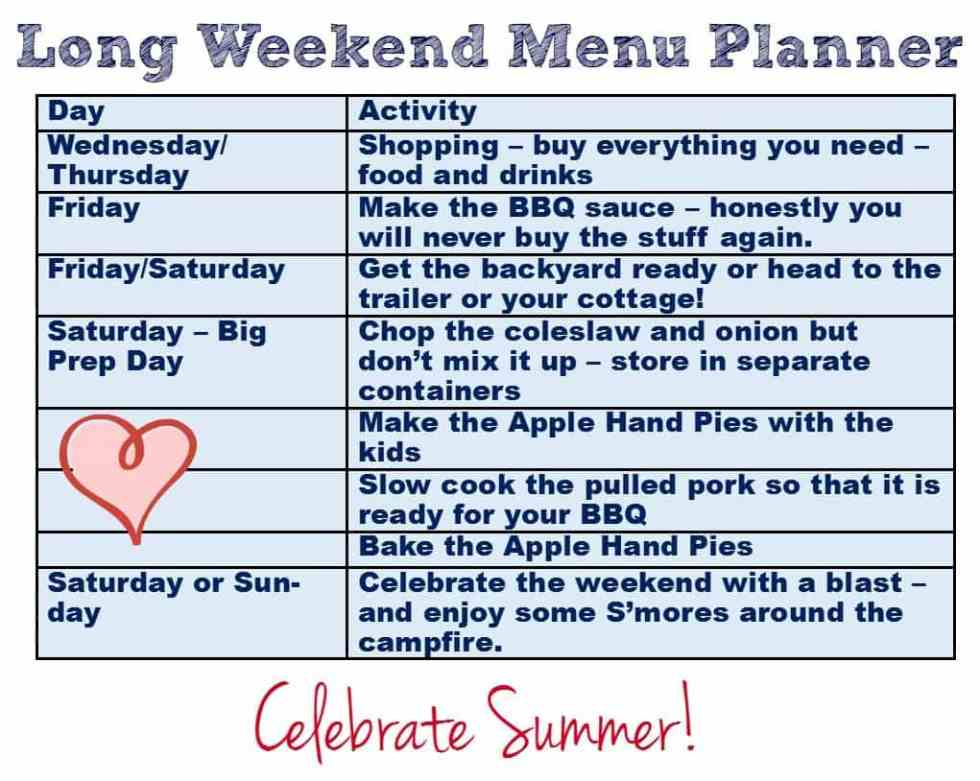 long weekend menu planner