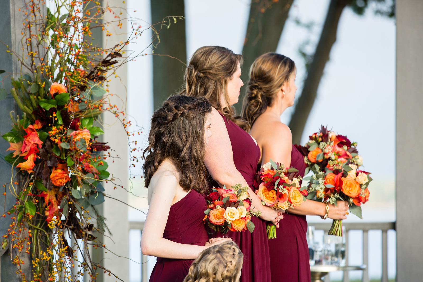 bridesmaids bouquets fall wedding ceremony by perfect planning events
