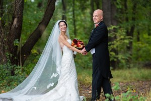 bride and groom fall outdoor wedding ceremony by perfect planning events