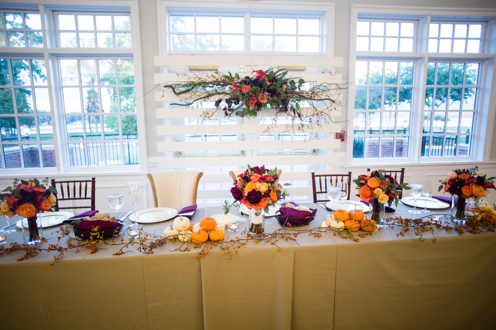 headtable at fall wedding reception by perfect planning events