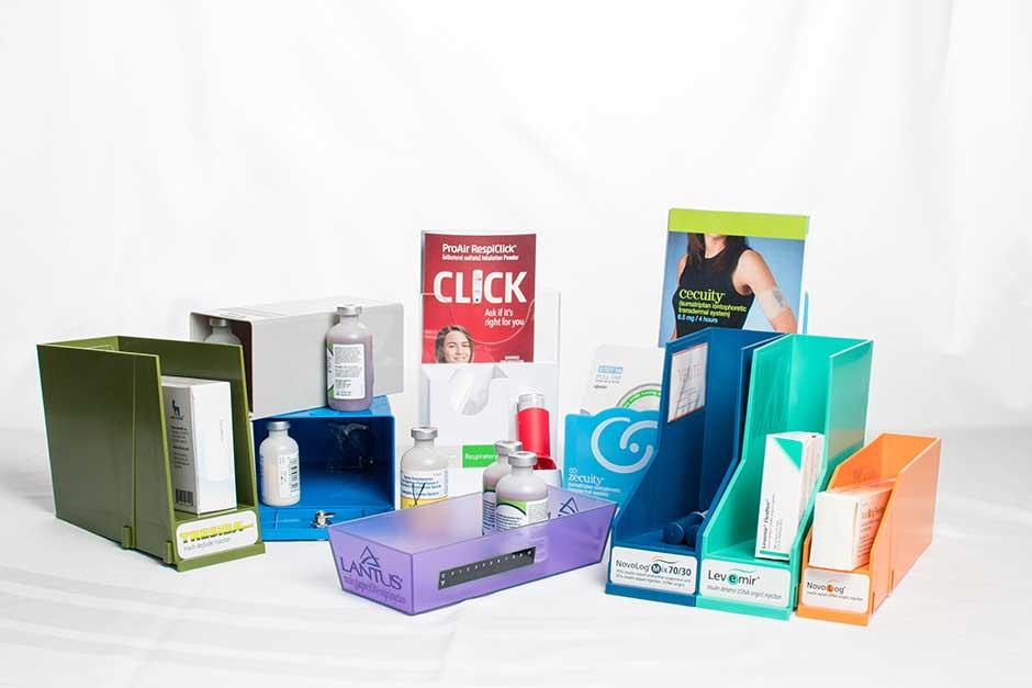pharmaceutical sample bins printed custom branding