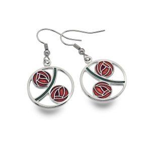 sea Red gems earrings