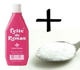 Mistura: leite de rosas com bicarbonato