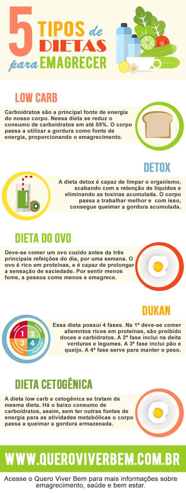 Infográfico: 5 tipos de dietas