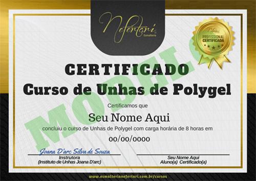 Certificado de conclusão - Curso online de unhas de gel