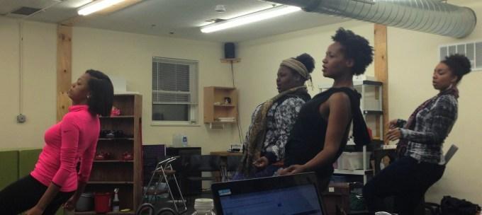 Choreographer Darian Tene teaches a dance to Jasondra Johnson (Ronnette), Eunice Woods (Chiffon), and Camille Robinson (Crystal)