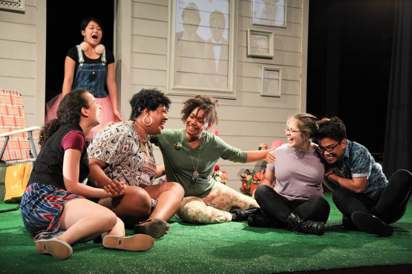 Sandy Nguyen (back) with (front, l to r) Elena Cohen, Da Shona Johnson, Kyla Norton, Bex Ehrmann and Jimbo Pestano in AD HOC [HOME], written and performed by the About Face Youth Theatre Ensemble and directed by Ali Hoefnagel and Kieran Kredell. Photo by Emily Schwartz.
