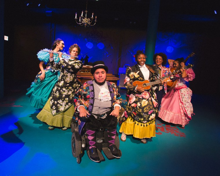 (l-r) Elle Walker, Dana Omar, Joel Rodriguez, Leslie Ann Sheppard, Gay Glenn, Aja Wiltshire in the Hypocrites' World premiere adaptation of Cinderella at the Theater of Potatoes adapted by Andra Velis Simon, directed by Sean Graney. Photo by Joe Mazza