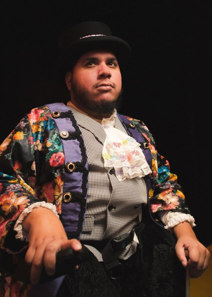 Joel Rodriguez in the Hypocrites' World premiere adaptation of Cinderella at the Theater of Potatoes adapted by Andra Velis Simon, directed by Sean Graney. Photo by Joe Mazza.