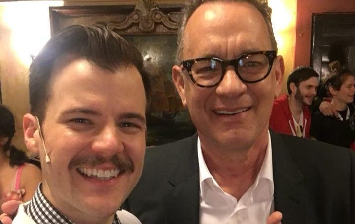How did Tom Hanks spend Super Bowl Sunday? At the theater with Chicago's Hypocrites.
