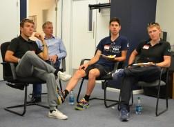 NetApp team members chatting with ASI designer Steve Fairchild