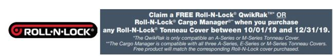 Roll-N-Lock: Get a Free* QwikRak or Cargo Manager with Tonneau Cover Purchase